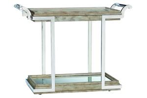 Malibu Serving Cart shown with:Silver Cloud finishStainless Steel frame Inset clear glass top with beveled edgeClear Mirror Shelf