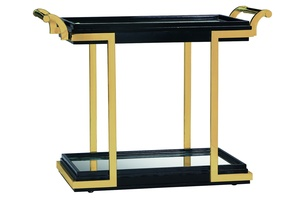 Malibu Serving Cart shown with:Caviar finishSatin Brass frameInset clear glass top with beveled edgeClear Mirror Shelf