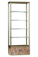 Malibu Etagere shown with:Burnished Silver finishStainless Steel shelf frameTextured Honey Shell baseMedici Nickel hardware