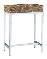 MalibuChairside Table shown with:Stainless Steelmetal frameTextured Honey Shell top