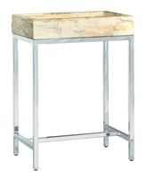 Malibu Chairside Table shown with:Stainless Steel metal framePolished Crystal Stone Taupe top