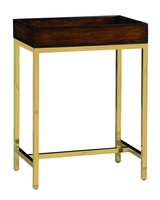 Malibu Chairside Table shown with:Satin Brass metal frameContemporary Havana finish