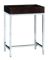 MalibuChairside Table shown with:Stainless Steelmetal frameLeather Snakeskin top in Sumatra finish