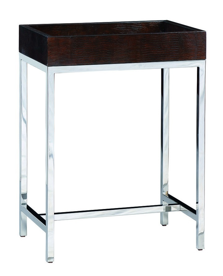 Malibu Chairside Table shown with:Stainless Steel metal frameTextured Honey Shell top