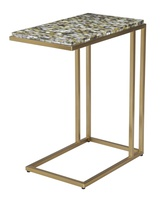 Malibu Chairside Table shown with:Satin Brass FramePolished Pewter Shell top