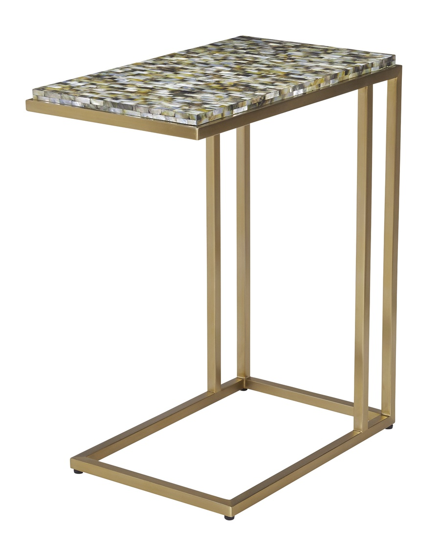 Malibu Chairside Table shown with:Stainless Steel FrameTextured Raven Shell top