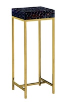 Malibu Pedestal shown with:Satin Brass metal frameTextured Raven shell top