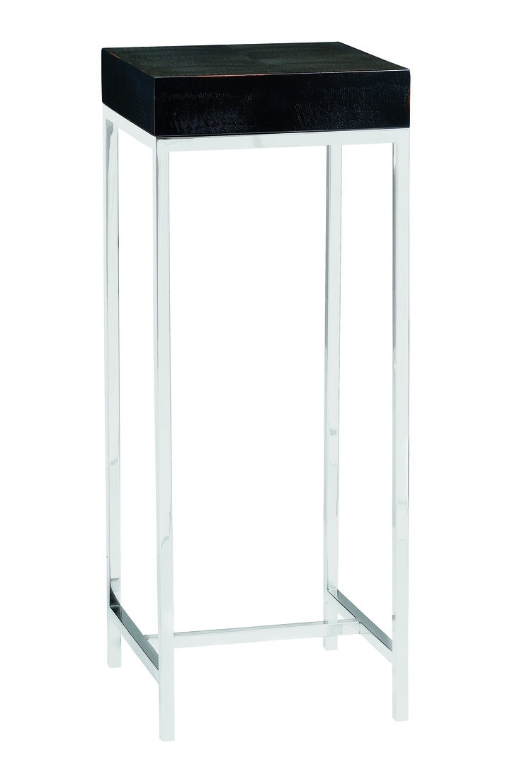 Malibu Pedestal shown with:Stainless Steel metal framePolished Silver Mosaic shell top