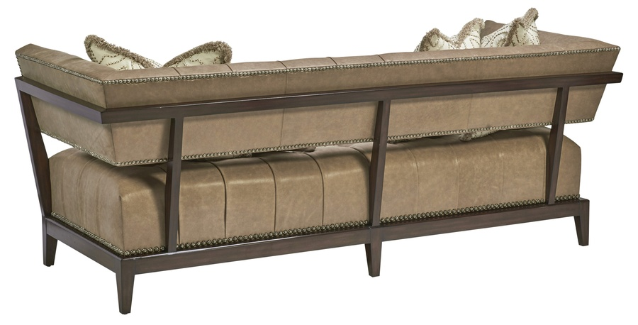 MontrealSofa shown with:Button tuftedseatExposed wood legs and frame in Contemporary Havana finishSilver Star nailhead frame trim