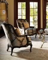MargueriteChairshown with:Boxed seat cushionOld World SumatrafinishAged Gold Leaf finish trimBronze Starnailhead frame trim