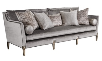 Marilyn Sofa shown with:Boxed bench seatExposed Wood legs in Versailles finishGunmetal nailhead frame trim