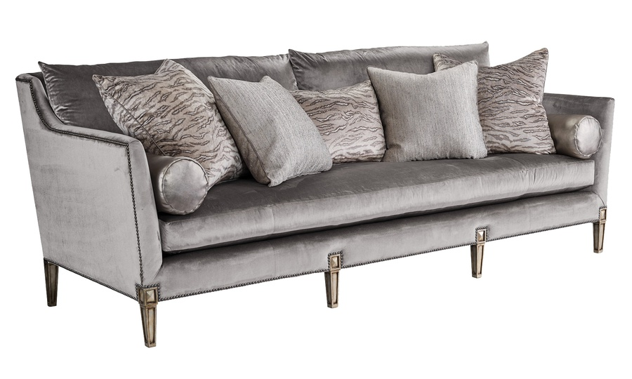Marilyn Sofa shown with:Boxed bench seatExposed Wood legs with Built-in Sides and Back Waterfall skirtAntique Silver finishWhite Diamond nailhead frame trim