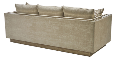 Nebula Sofa shown with:Boxed bench seatBuilt-to-the-floorwood frame in Silver Cloud leaf finish withAntique Mirror panel insetPewternailhead frame trim