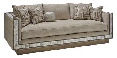 Nebula Sofa shown with: Boxed bench seatBuilt-to-the-floorwood frame in Silver Cloud leaf finish withAntique Mirror panel insetPewternailhead frame trim