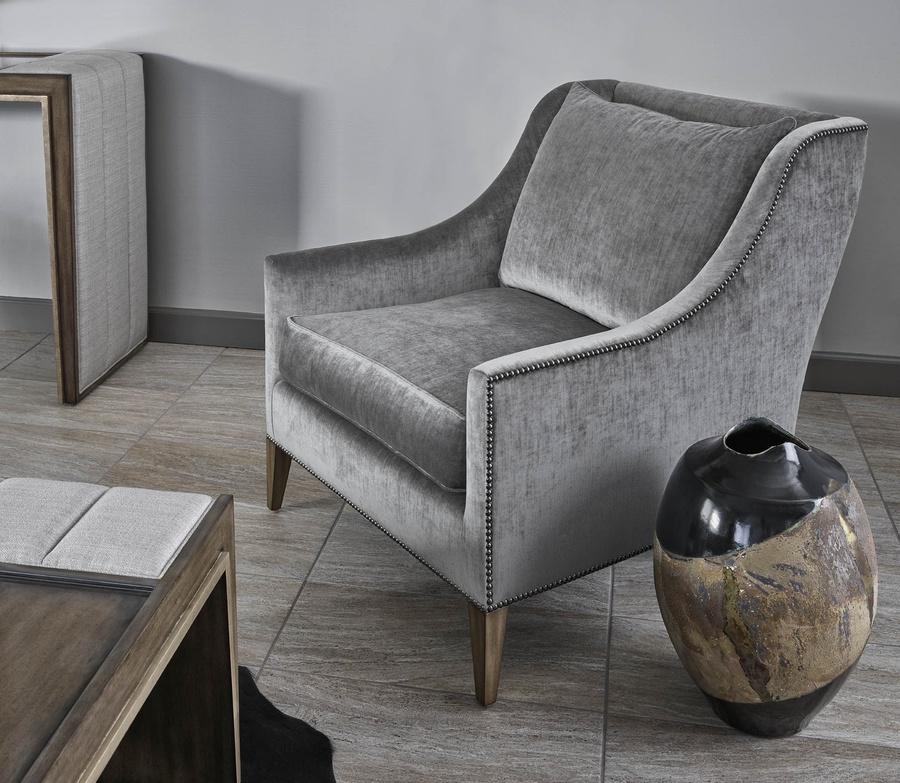 Olinda Chair shown with:Latte finishGunmetal nailhead frame trim