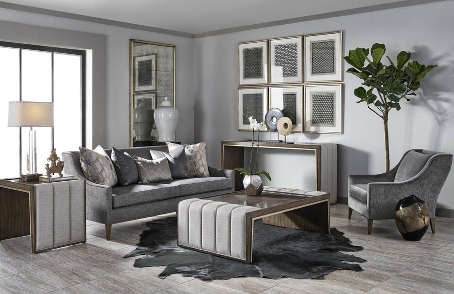 OlindaSofa shown with:Built-to-the-floor base with exposed legs in LattefinishGunmetal nailhead frame trim