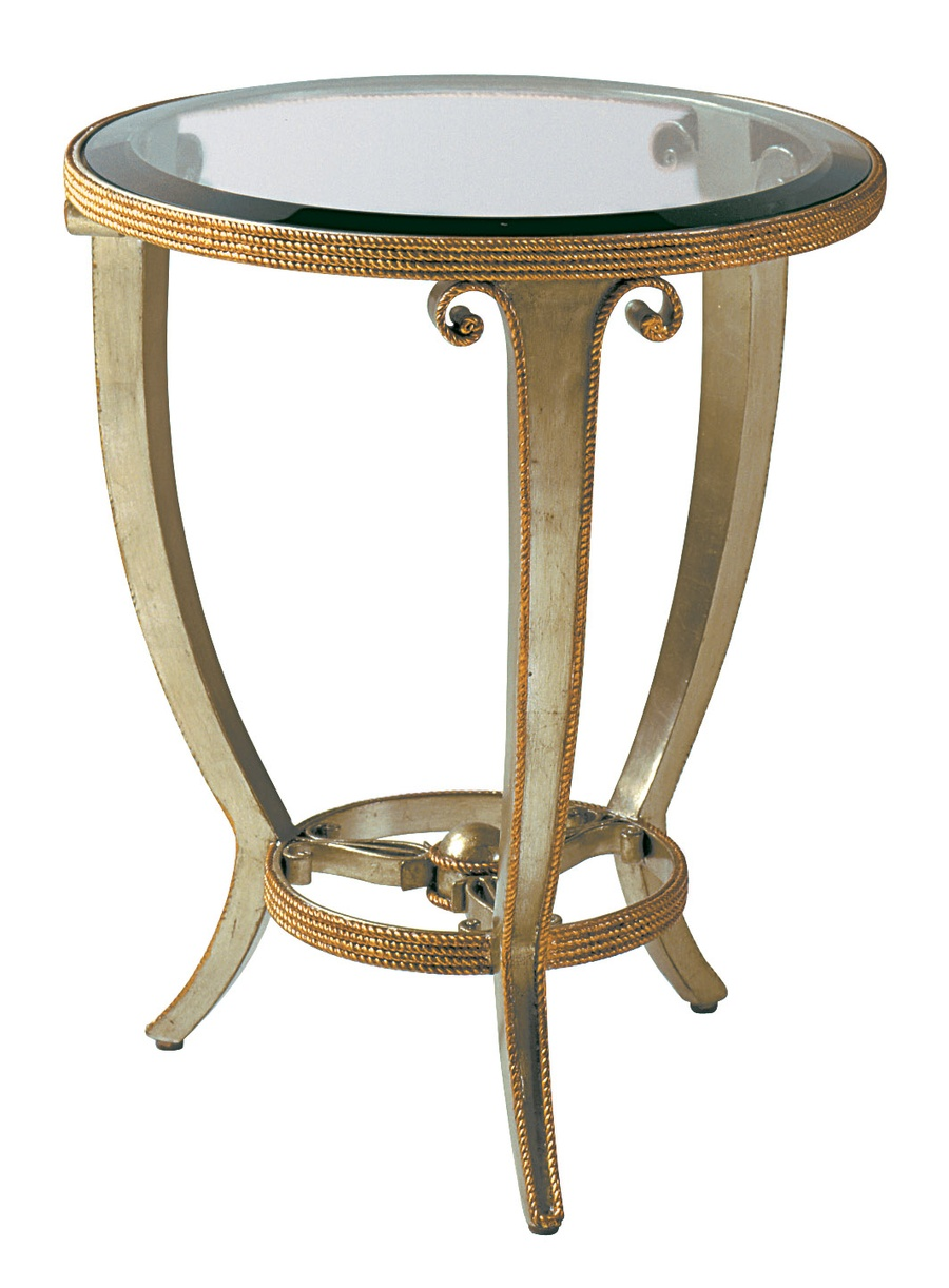 Oggetti Chairside Table shown with:Glazed Silver Leaf finishMetal leaf finish trim Inset clear glass top with beveled edge