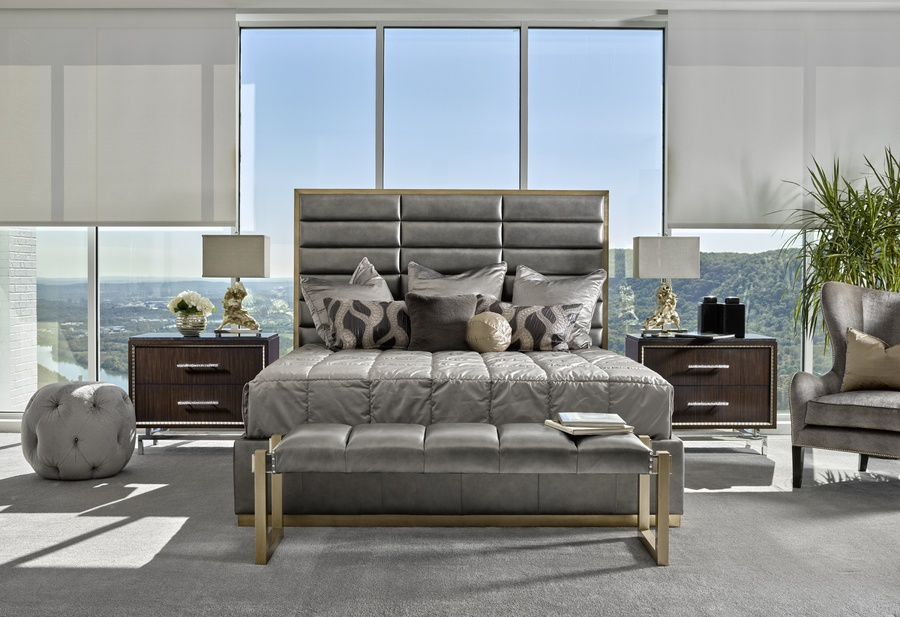 Palo Alto Contemporary Bed shown with:Horizontal panels upholstery styleWood Plinth base in Cashmere Silver finishPlain panel rails