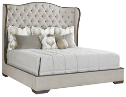 Palo Alto Traditional Bed shown with:Button tufted upholstery styleBracket leg base in Havana finishPlain panel railsBronze Star nailhead frame trim