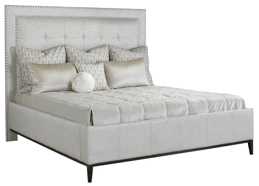 Palo Alto Fully Upholstered Bed shown with:Box quilted upholstery styleExposed wood leg base in Bombay finishSeamed panel railsSilver nailhead frame trim