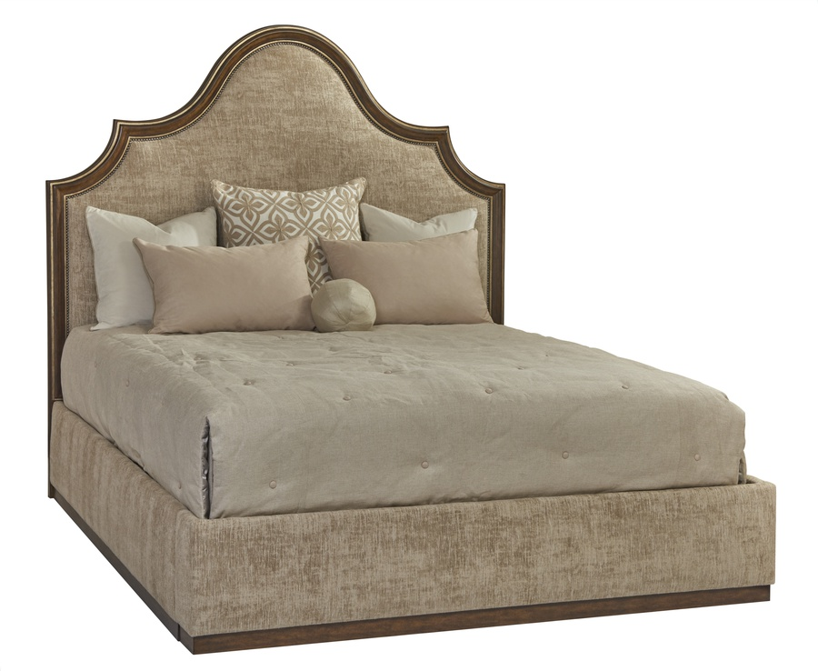 Palo Alto Traditional Bed shown with:Headboard in Saddle finish with Burnished Silver leaf finish trimPlain upholstery styleWood plinth base in Saddle finishPlain panel railsGunmetal nailhead frame trim