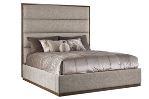 "Palo Alto Contemporary Bed shown with:Horizontal panels upholstery styleWood Plinth base in Latte finishCashmere Silver leaf finish trimPlain panel rails(1) additional 15"" panel"