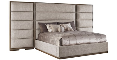 """Palo Alto Contemporary Bed shown with:Horizontal panels upholstery styleWood Plinthbase in Latte finishCashmere Silver leaf finish trimPlainpanel rails(1) additional 15"""" panel"""