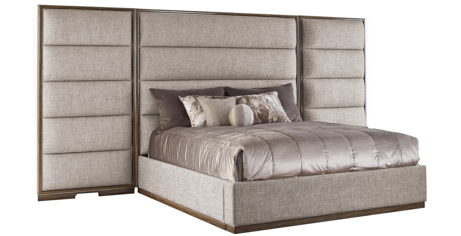 Palo Alto Contemporary Bed shown with:Horizontal panels upholstery styleWood Plinthbase in Latte finishCashmere Silver leaf finish trimPlainpanel rails