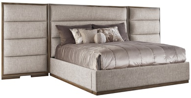 Palo Alto Contemporary Bed shown with:Horizontal panels upholstery styleWood Plinth base in Latte finishCashmere Silver leaf finish trimPlain panel rails