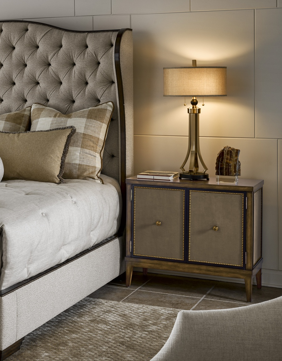 Palo Alto Nightstand shown with:Saddle finishEbony paint finish trimBright Brass nailhead frame trimInset fabric panelAntique Brass knob pull