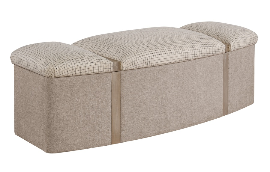Palo Alto Bench shown with:Cashmere Silver finishInside Storage Selection of fabrics and finishes available.