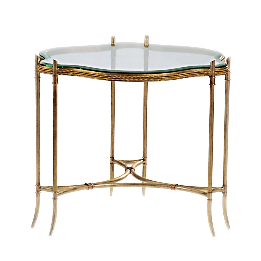 PegasusEndTable shown with:Specialty LeaffinishMediciLeaf finishtrimInset clear glass top with beveled edge Available in a selection of finishes and finish trims