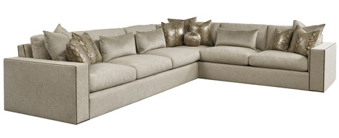 Playa Grande Sectional shown with:PLG53, PLG73Boxed seat cushionsBuilt-to-the-floor baseMottled nailhead frame trim