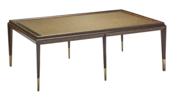 Palms Cocktail Table shown with: Saddle finish Satin Brass accents
