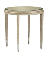 Palms End Table shown with:Dapple finish on baseRaffia top in Dapple finishMetal accents in Stainless Steel finish
