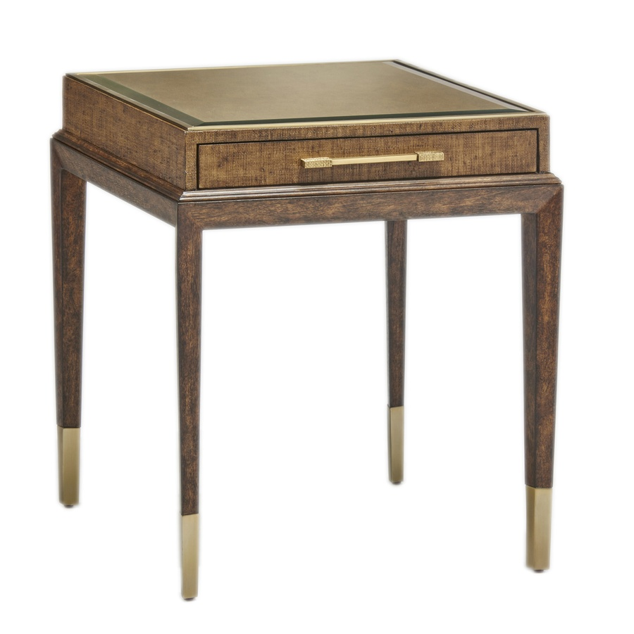 Palms End Table shown with:Saddle finish on baseRaffia top in Saddle finishMetal accents in Satin Brass finishDecorative hardware in Satin Brass finish