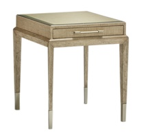 Palms End Table shown with:Dapple finish on baseRaffia top in Dapple finishMetal accents in Stainless Steel finishDecorative hardware in Polished Nickel finish