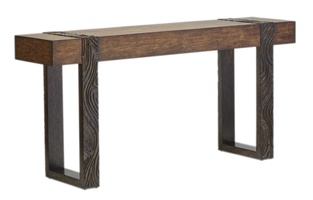 Palms Console shown with: Saddle finish on baseContrast legs in Dark Bay finish