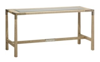 Palms Deskshown with:Raffia base in Dapple finish withWood accents in Silver Cloud finish