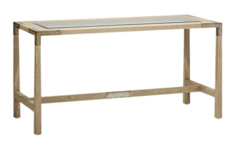 Palms Desk shown with:Raffia base in Dapple finish withWood accents in Silver Cloud finish