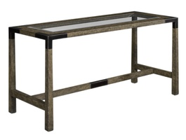Palms Desk shown with:Raffia base in Dark Bay finish withWood accents in Bronzed Brass finish