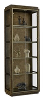 Palms Display Cabinet shown with:Saddle finish withTruffle Paint finish trimRaffia back in Saddle finishSatin Brass door and shelf frameSatin Brass hardware