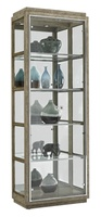 Palms Display Cabinet shown with:Dapple finish withSilver Cloud Leaf finish trimMirror backStainless Steel door and shelf framePolished Nickel hardware