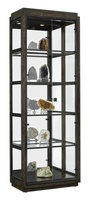 Palms Display Cabinet shown with:Dark Bay finish withEbony Paint finish trimMirror backBronzed Brass door and shelf frameBronzed Brass hardware