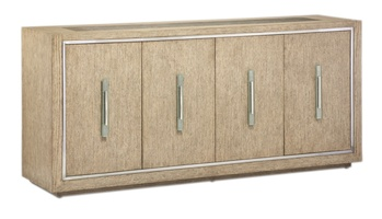 Palms Credenza shown with:Dapple finish withStainless Steel accentsPolished Greystone Marble topPolished Nickel hardware