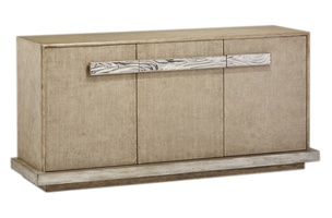 Palms Credenza shown with:Dapple finish withSilver Cloud Leaf finish trimRaffia door faces in Dapple finishPolished Nickel hardware