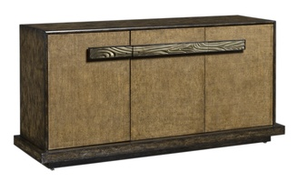 Palms Credenza shown with:Dark Bay finishRaffia door faces in Saddle finishSatin Brass hardware