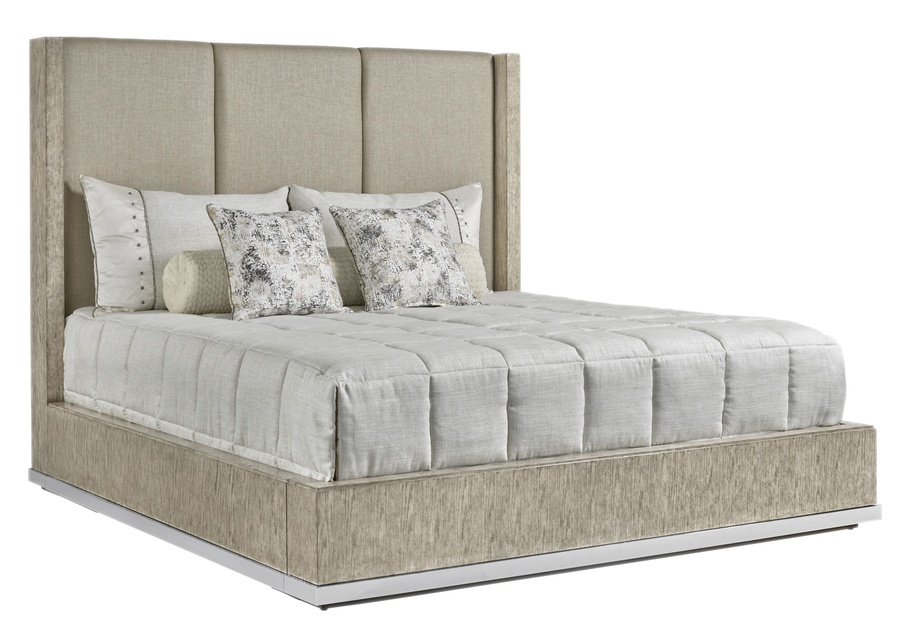 Palms Panel Bed shown with: Saddle finish Satin Brass accent band