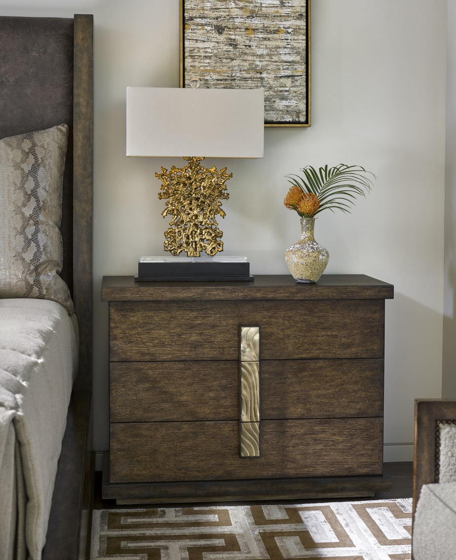 Palms Nightstand shown with:Saddle finish withDark Bay paint finish trimContrast base in Dark Bay finishSatin Brass hardware