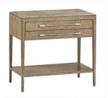 Palms Nightstand shown with:Dapple finishPolished Greystone Marble topPolished Nickel hardware